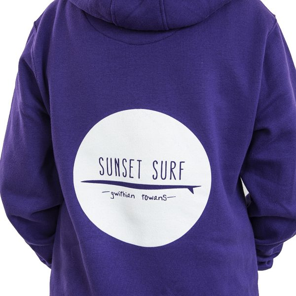 Sunset Surf Adult Hoodie Purple Rear