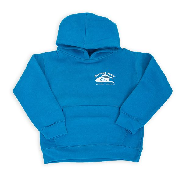 Sunset Surf Kids Hoodie Bright Blue