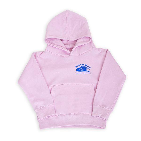 Sunset Surf Kids Hoodie Light Pink