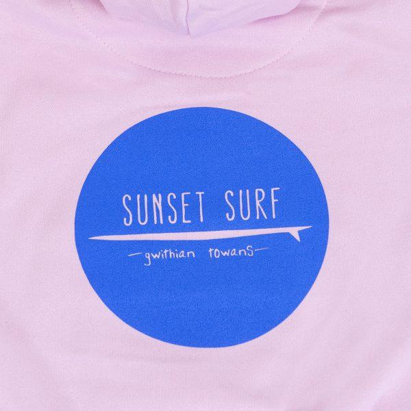 Sunset Surf Kids oodie Light Pink Reverse