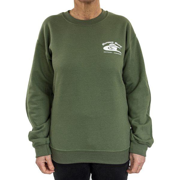 Sunset Surf Adult Sweatshirt Military Green