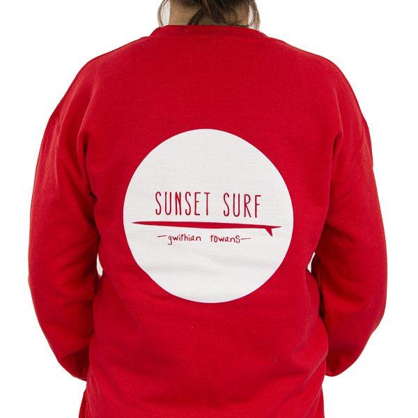 Sunset Surf Adult Sweatshirt Red Rear