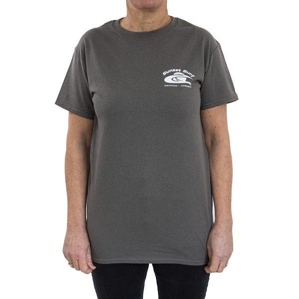 Sunset Surf Adult T Shirt Charcoal